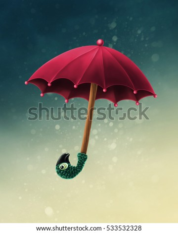 Mary Poppins umbrella on a blue background