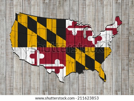 Maryland flag with America map and wood background