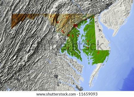 Maryland. Shaded relief map.  Surrounding territory greyed out. Shows major urban areas and rivers.  Colored according to relative elevation. Clipping path for state area included.