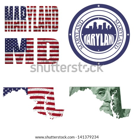 Maryland state collage (map, stamp,word,abbreviation) in different styles in different textures - stock photo