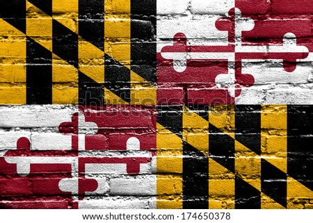 Maryland State Flag painted on brick wall - stock photo