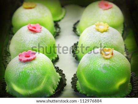 Marzipan cakes - stock photo