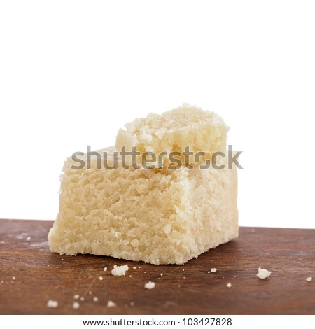 marzipan on wooden board - stock photo