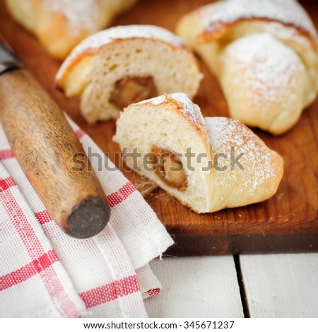Marzipan Stuffed Yeast Rolls, One Cut in Half, square, copy space for your text