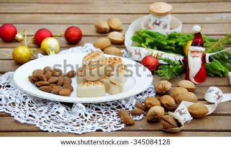 Marzipan traditional sweets christmas card - stock photo