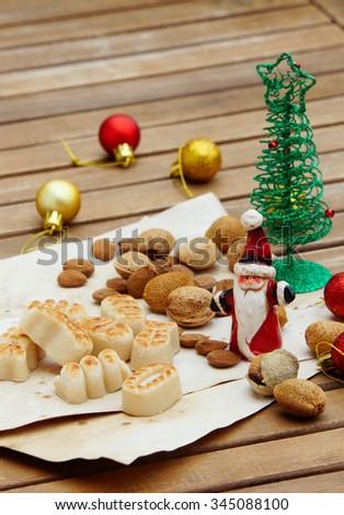 Marzipan traditional sweets christmas card - stock photo