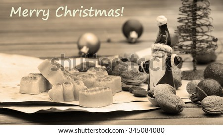 Marzipan traditional sweets christmas card blacke and white - stock photo