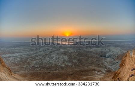 Masada sunrise - stock photo