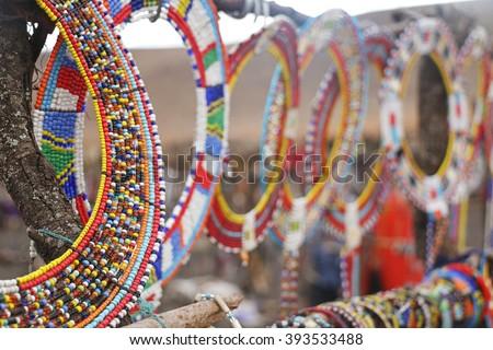 Masai Beads / Closeup of Masai beads necklaces - stock photo
