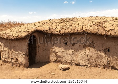 Masai Houses - Kenya - stock photo