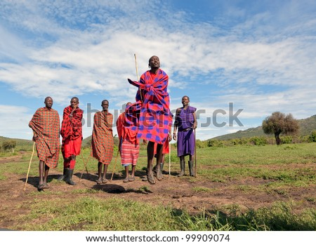 MASAI MARA, KENYA - DECEMBER 2: Unidentified Masai warriors dance and participate in traditional jumps as part of a cultural ceremony on December 2, 2011 in Masai Mara - stock photo