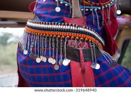Masai warrior details in Kenya, Africa - stock photo