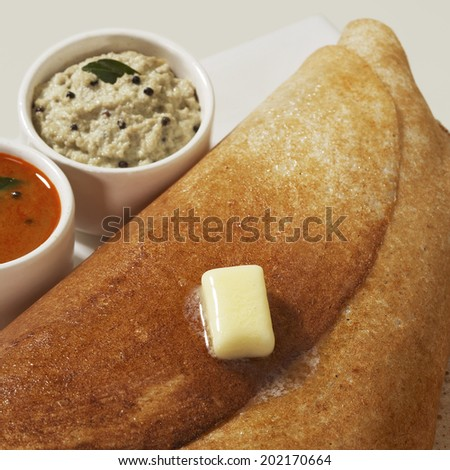 Masala Dosa, Dosa, South Indian snack, India - stock photo