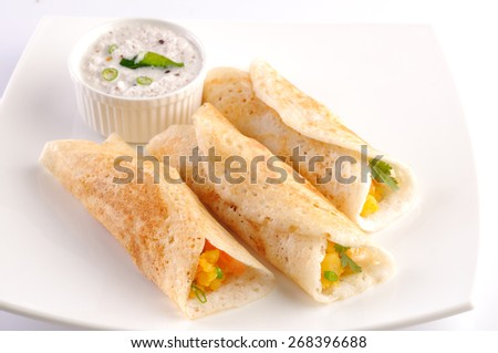Masala Dosa, Dosa, South Indian snack, India,Dosa with Coconut Chutney  - stock photo