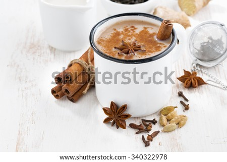 Masala tea and ingredients, closeup, horizontal - stock photo