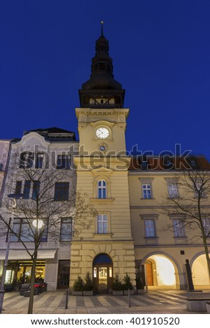 Masaryk Square - central square featuring the historic old city hall building  - stock photo