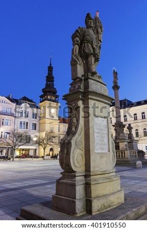 Masaryk Square - central square featuring the historic old city hall building and a Marian plague column - stock photo