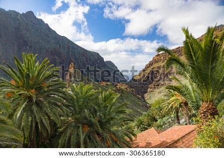 Masca village and valley in the mountains of Tenerife, Canary islands, Spain - stock photo