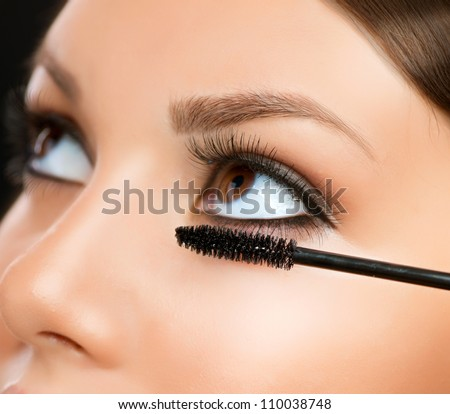 Mascara Applying. Makeup Closeup.Eyes Make-up - stock photo
