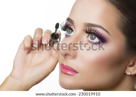 Mascara Applying. Makeup Closeup.Eyes Make-up - stock photo