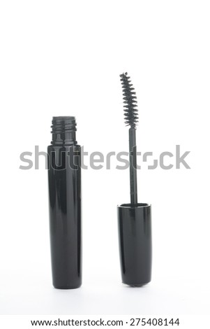 Mascara brush makeup your face on white background. - stock photo