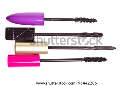 mascara set isolated on white background