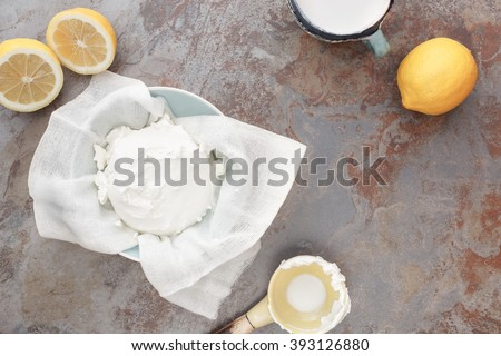Mascarpone Cheese. Overhead view of making mascarpone cheese, vintage style, blank space - stock photo