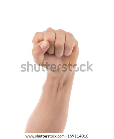 Masculine Clenched Fist on a White Background, Defiant Symbol  - stock photo