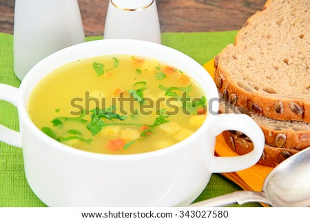 Mashed Pea Soup with Croutons Studio Photo