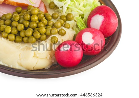 Mashed potato with ham and vegetables (fragment) isolated on white background - stock photo