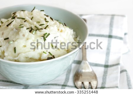 Mashed potatoes in a bowl, selective focus