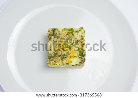 mashed potatoes with rosemary and Asian spices - stock photo