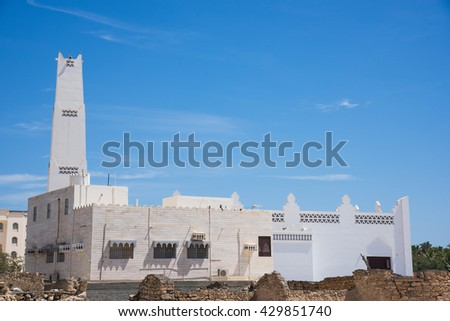 Masjid Aqeel Mosque in Salalah, Oman. The mosque was originally built in 1779, making it one of the oldest mosques in Salalah. - stock photo