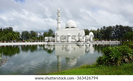 Masjid Tengku Tengah Zaharah or also known as Floating Mosque in Kuala Terengganu, Malaysia, Asia. This mosque is the place for the Muslim do the pray.