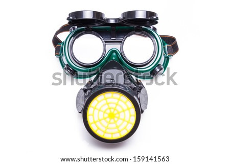 Mask, and goggles on a white background