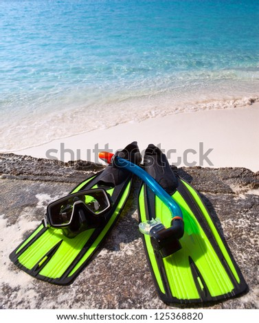 mask, flippers,  tube-lay on sand on background of ocean