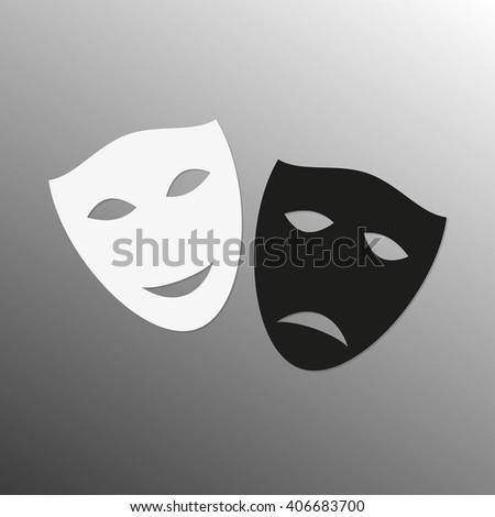 Mask icon. Theater masks symbol. Happy and sad masks. Black and white theatrical masks. Carnival masks. - stock photo