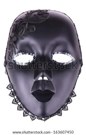 Mask on blue fabric background - stock photo