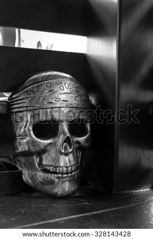 Mask skull, Halloween background - stock photo