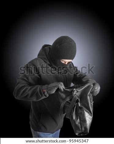 Masked criminal holding a stolen handbag - stock photo