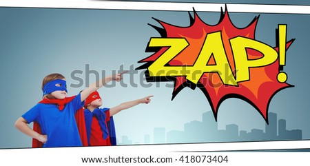 Masked kids pretending to be superheroes against the word zap - stock photo