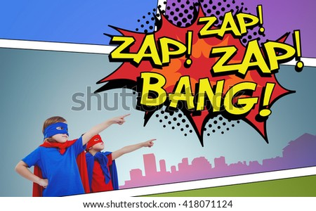 Masked kids pretending to be superheroes against the words zap and bang - stock photo