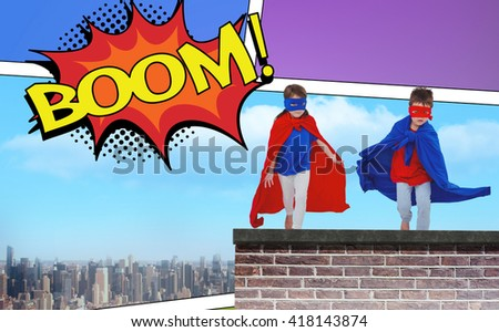 Masked kids running pretending to be superheroes against the word boom - stock photo