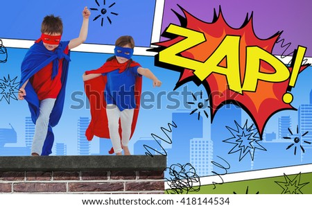 Masked kids walking pretending to be superheroes against the word zap - stock photo