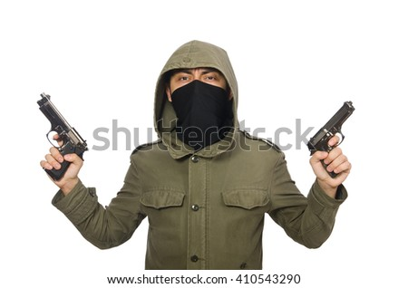 Masked man in criminal concept on white - stock photo