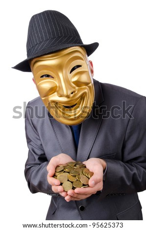 Masked man with coins on white