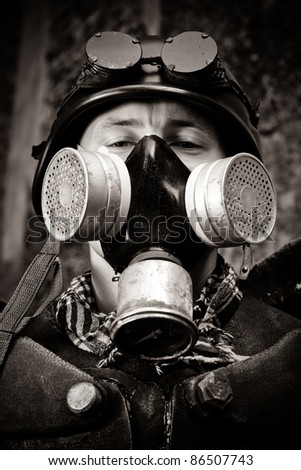 masked postnuclear fighter - stock photo