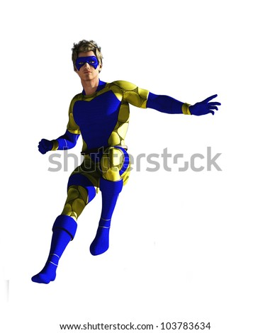Masked superhero in blue and yellow costume isolated on white - stock photo