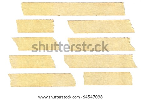 masking tape textures with varied length, isolated on white, set 2 of 2. - stock photo