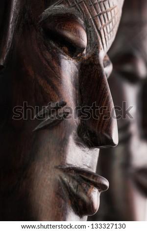 masks african full frame closeup - stock photo